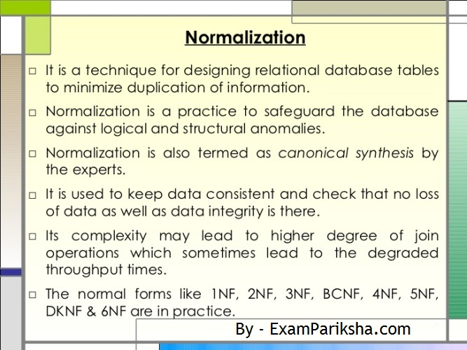 DBMS Normalization Study Material for IBPS IT Officer