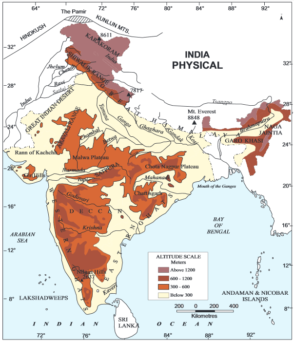 Physiography of India - geography study material & notes