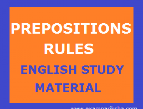Rules for Prepositions – English Study Material & Notes