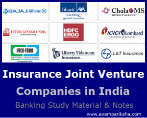 List of Joint Venture Insurance Companies in India - Banking Study Material & Notes